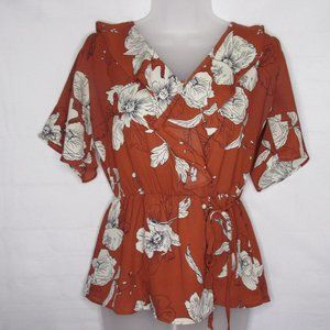 Sienna Sky Burnt Orange Floral Top